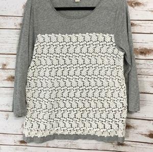 J. Crew Gray Crochet Lace 3/4 sleeve shirt